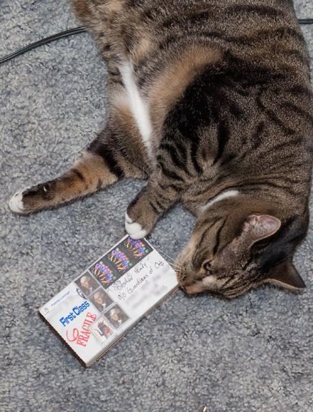 Oliver smelling box